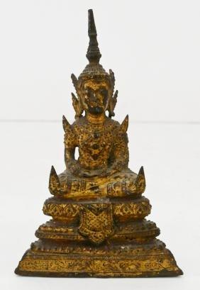 Thai Miniature Bronze Seated Buddha 5''x3.25''. Gilt