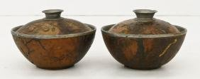 Pair Chinese Coconut Shell Tea Bowls 3''x4.5'' each.