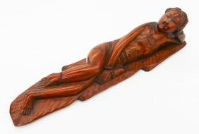 Chinese Rosewood Doctor's Model 2''x8.25''. Carved wood