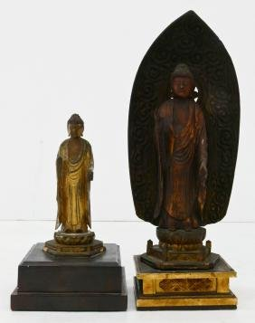 2pc Japanese Lacquered Buddha Figures. Standing gilt