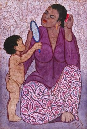 Chuah Thean Teng (1912-2008 Malaysia) Mother and Child