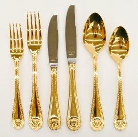 "Versace for Rosenthal ""Medusa"" Gold Flatware Service fo"
