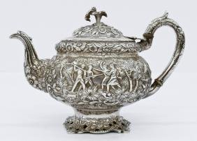Early American Repousse Silver Teapot Attributed To