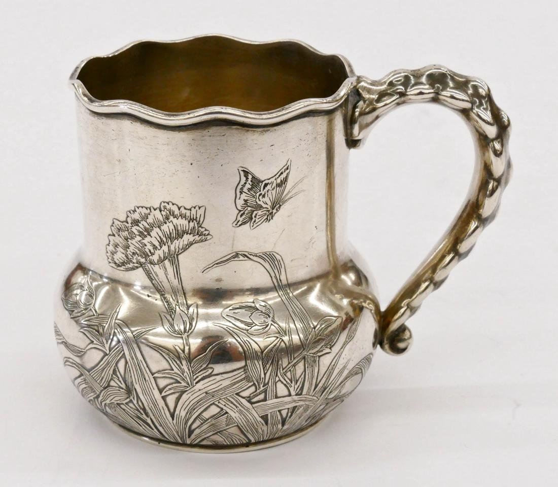 Early Gorham Aesthetic Sterling Mug 3.25''x4''.