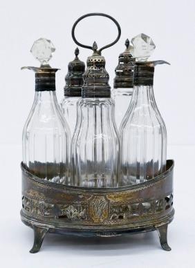 Georgian Silver & Cut Glass Castor Set 8.5''x6''.