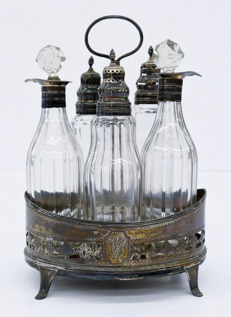Georgian Silver & Cut Glass Castor Set 8.5''x6''.
