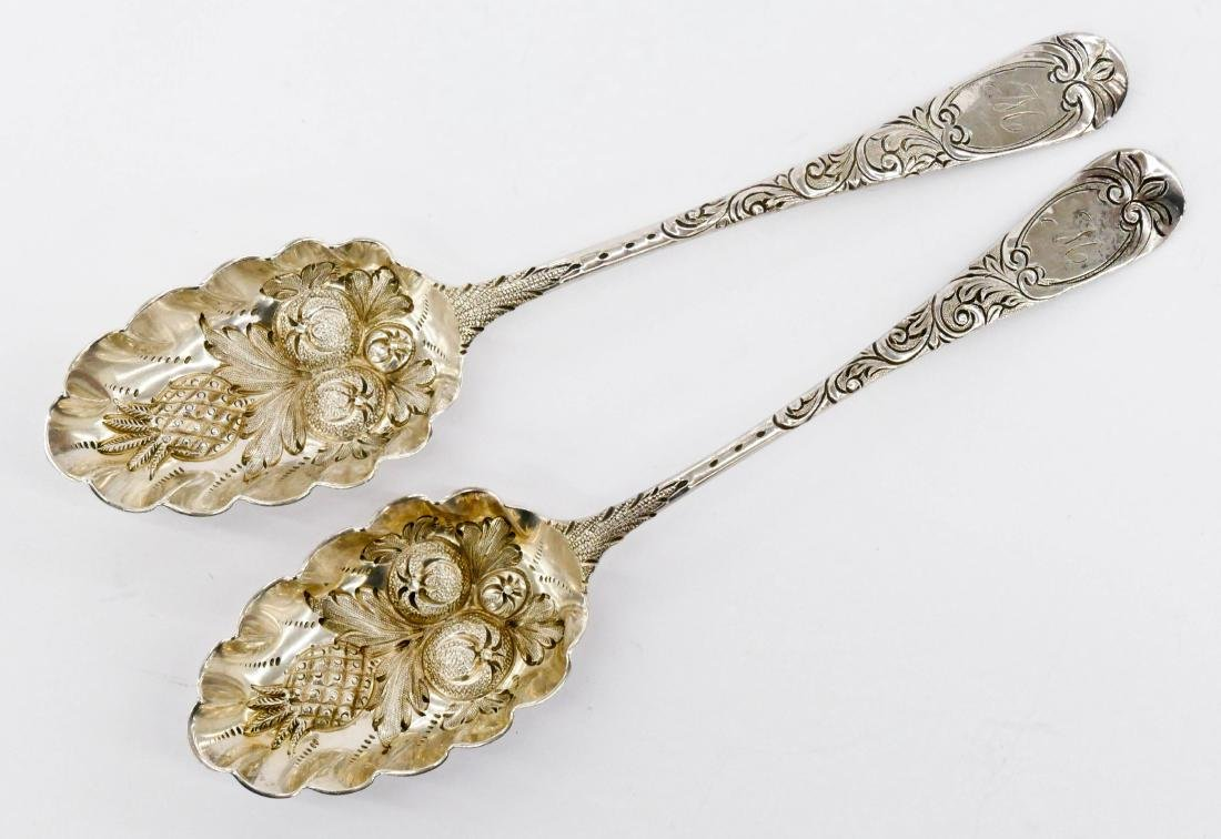 Pair Early George III Silver Fruit Spoons 8'' Each. A
