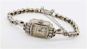 Vintage Ladys Movado 14k Diamond Bracelet Wristwatch