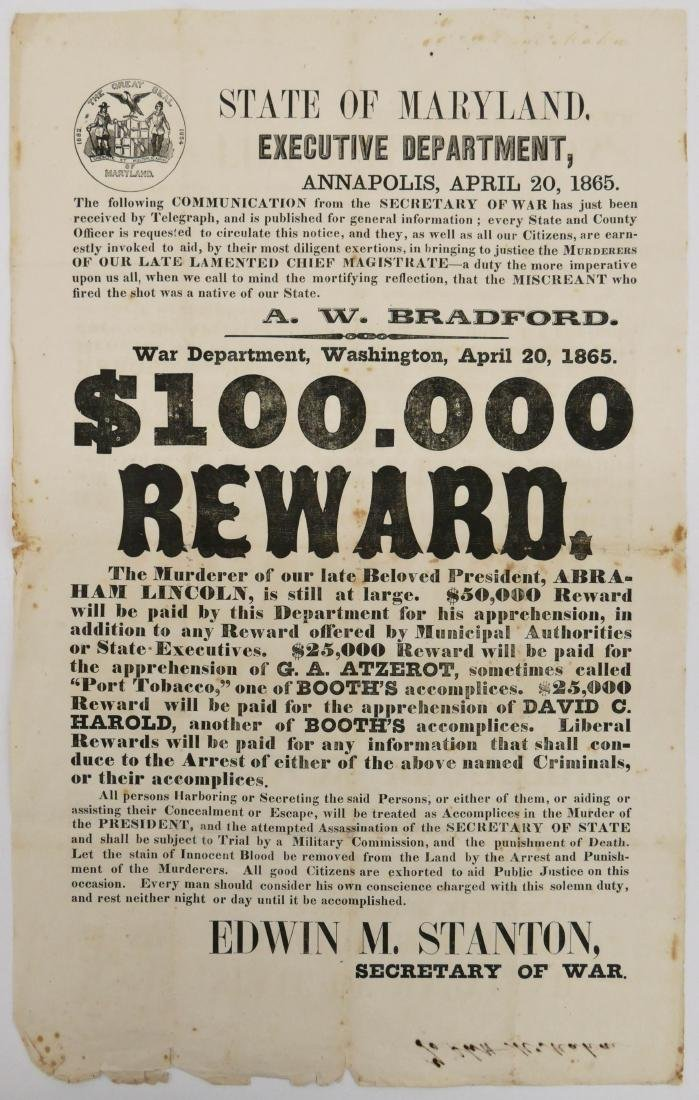 A Rare 1865 Lincoln Assassination Broadside