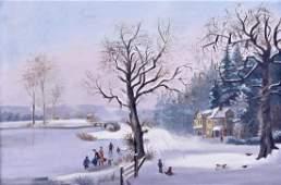 Antique American School Winter Scene Oil on Canvas