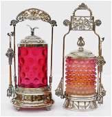 2pc Victorian Glass Pickle Castors. Includes a