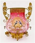 Victorian Enameled Glass Centerpiece Vase