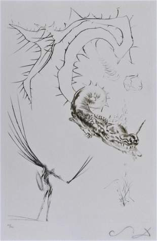 Salvador Dali ''Tristan and The Dragon'' 1970 Drypoint