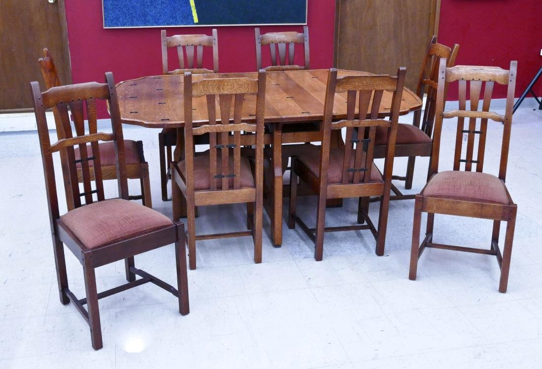 Allan Cole Custom Oak Mission Style Dining Set. A Fine