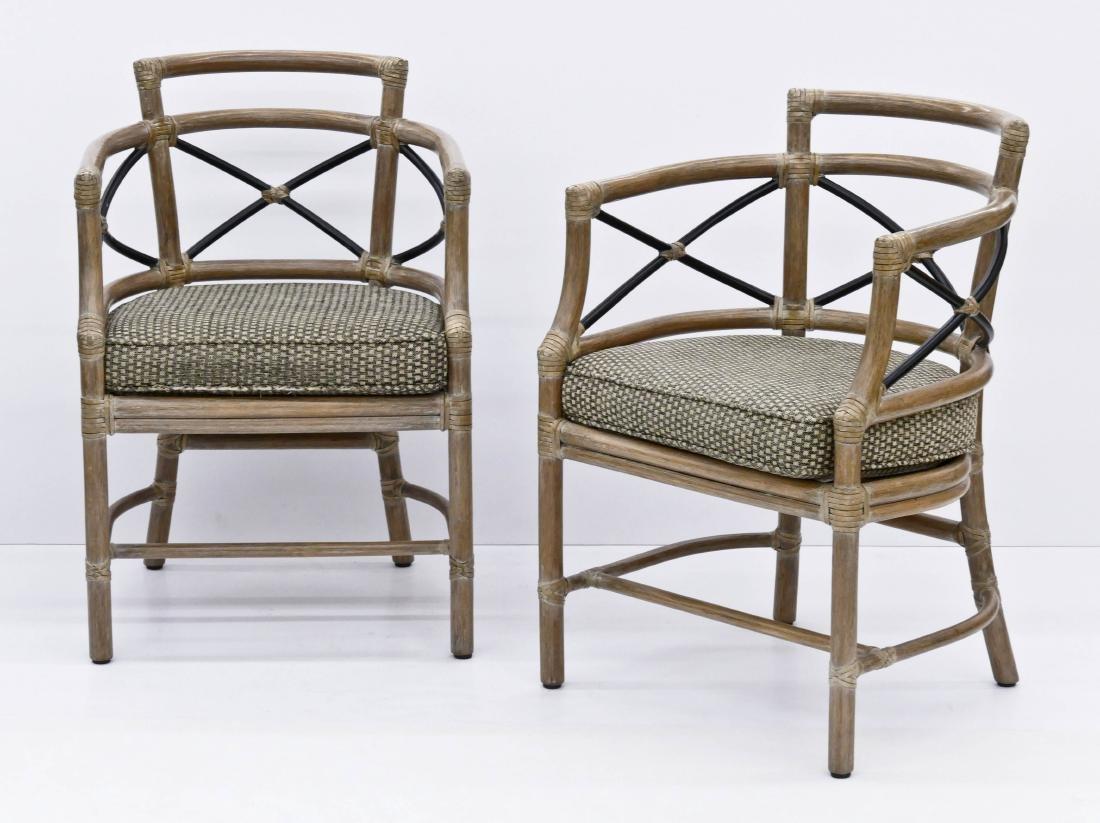 Set of McGuire Rattan Armchairs 32''x22''x20'' Each.