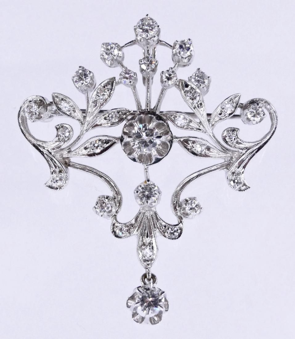 Lady's Diamond Lavalier Pendant Brooch 1.75''x1.5''.