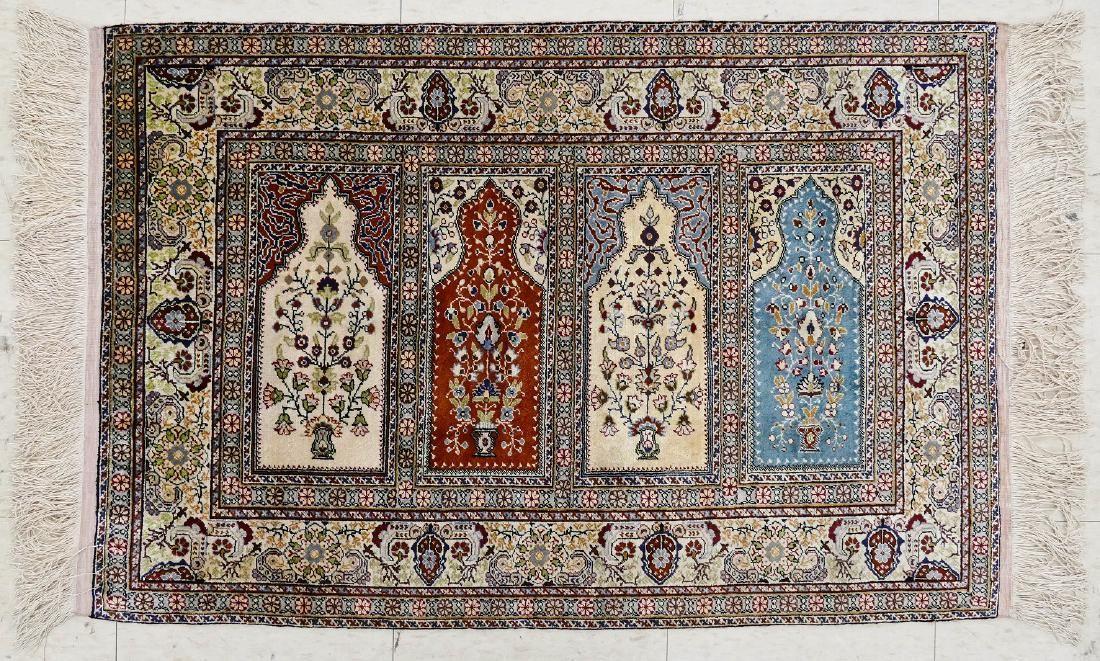 Fine Turkish Kayseri Silk Oriental Rug 2'4''x3'4''. It