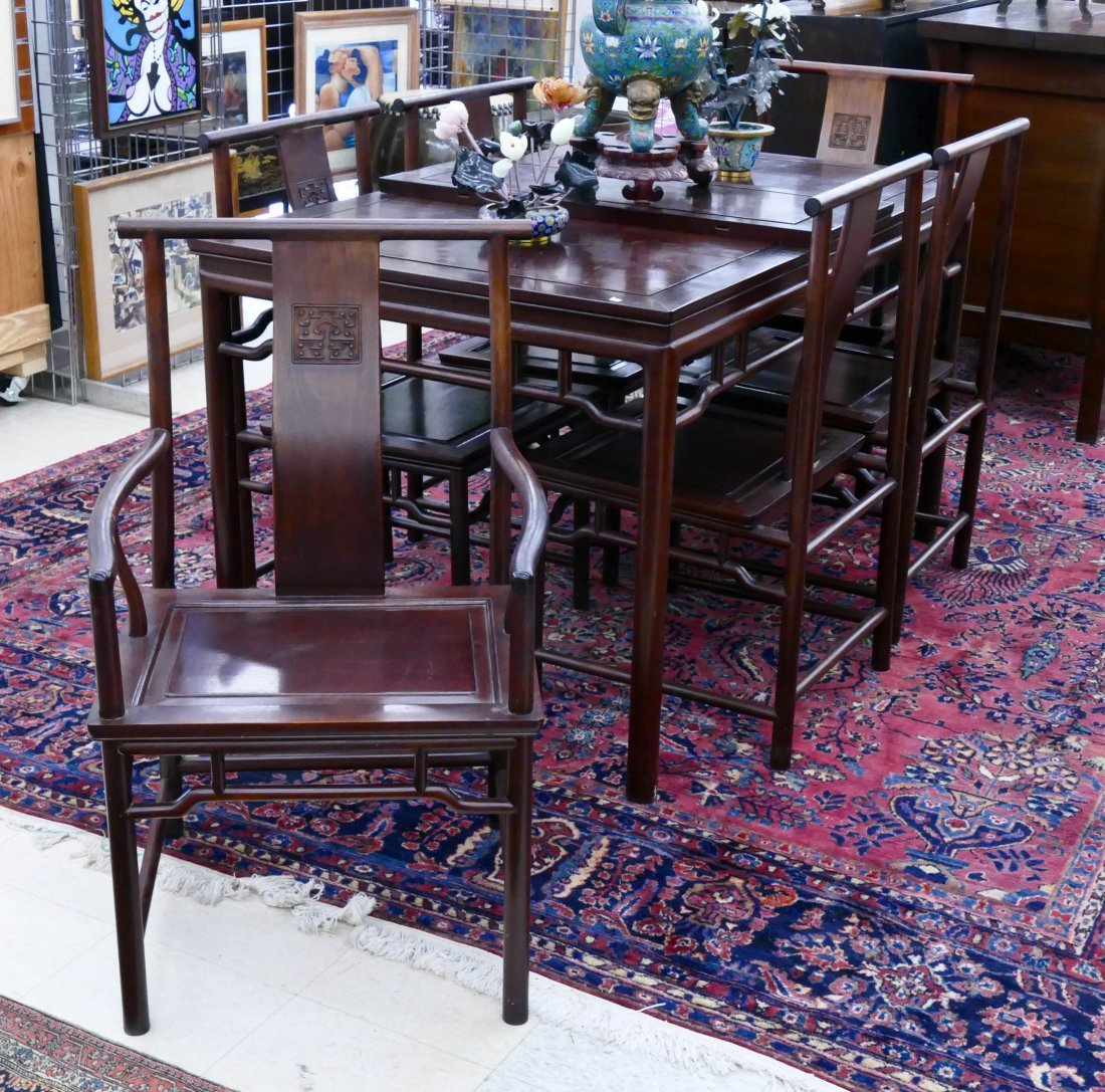 Fine Chinese Rosewood Dining Set. A Traditional Set