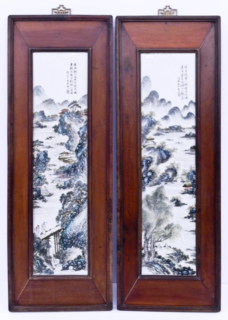 Pair Chinese Porcelain Landscape Plaques by Chen
