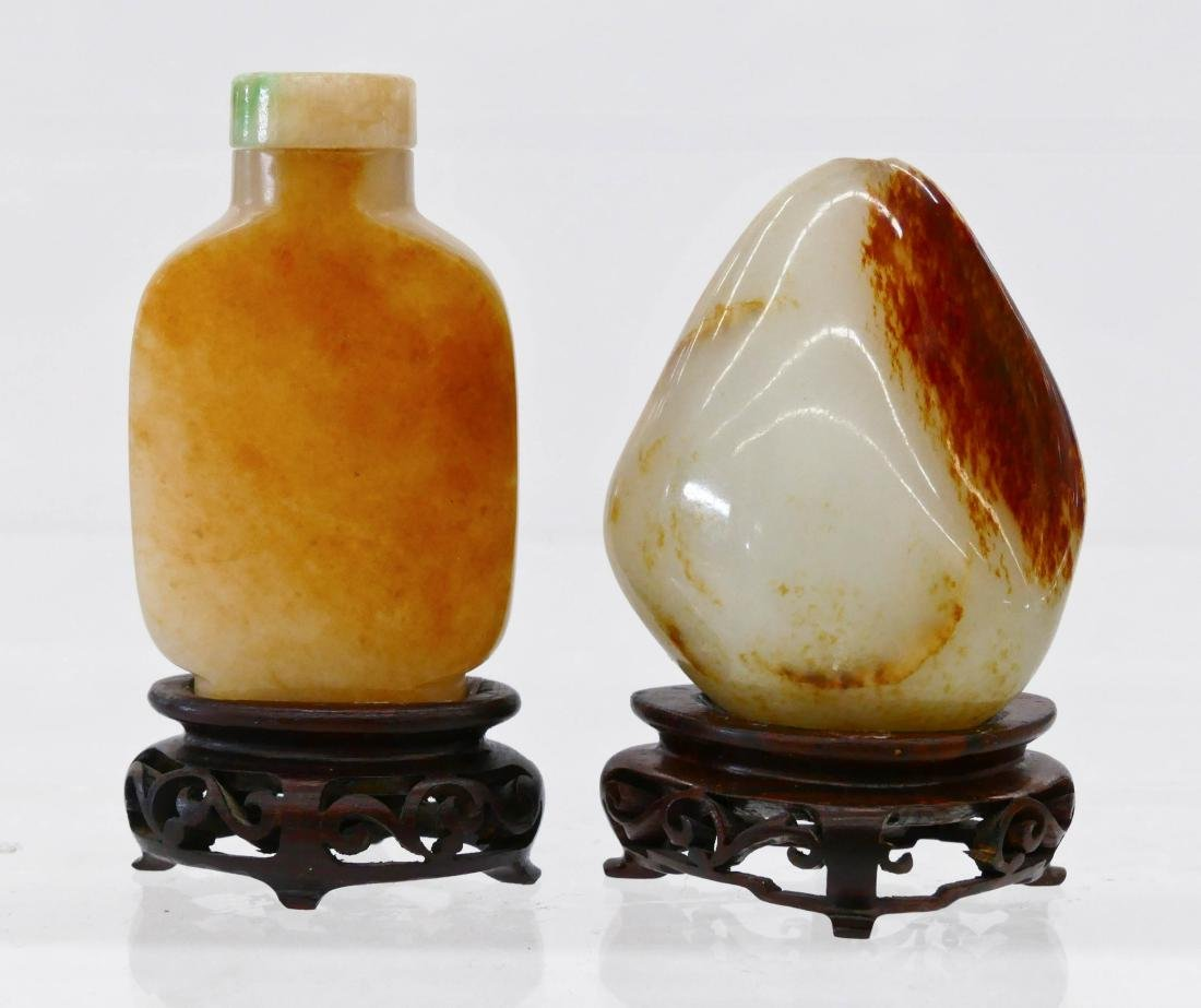 2pc Chinese Jade Snuff Bottle & Pebble on Stands.