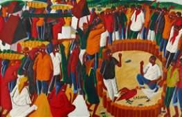 Laurent Casimir 19281990 Haiti Cock Fight Oil on