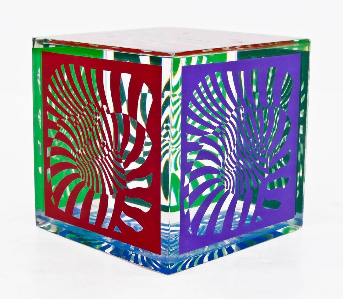 Victor Vasarely (1906-1997 Hungarian) Zebra Cube 1980
