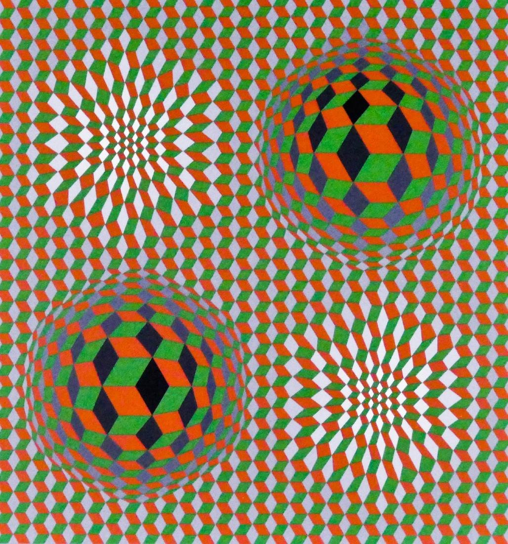Victor Vasarely Early Op Art Serigraph 15''x14''