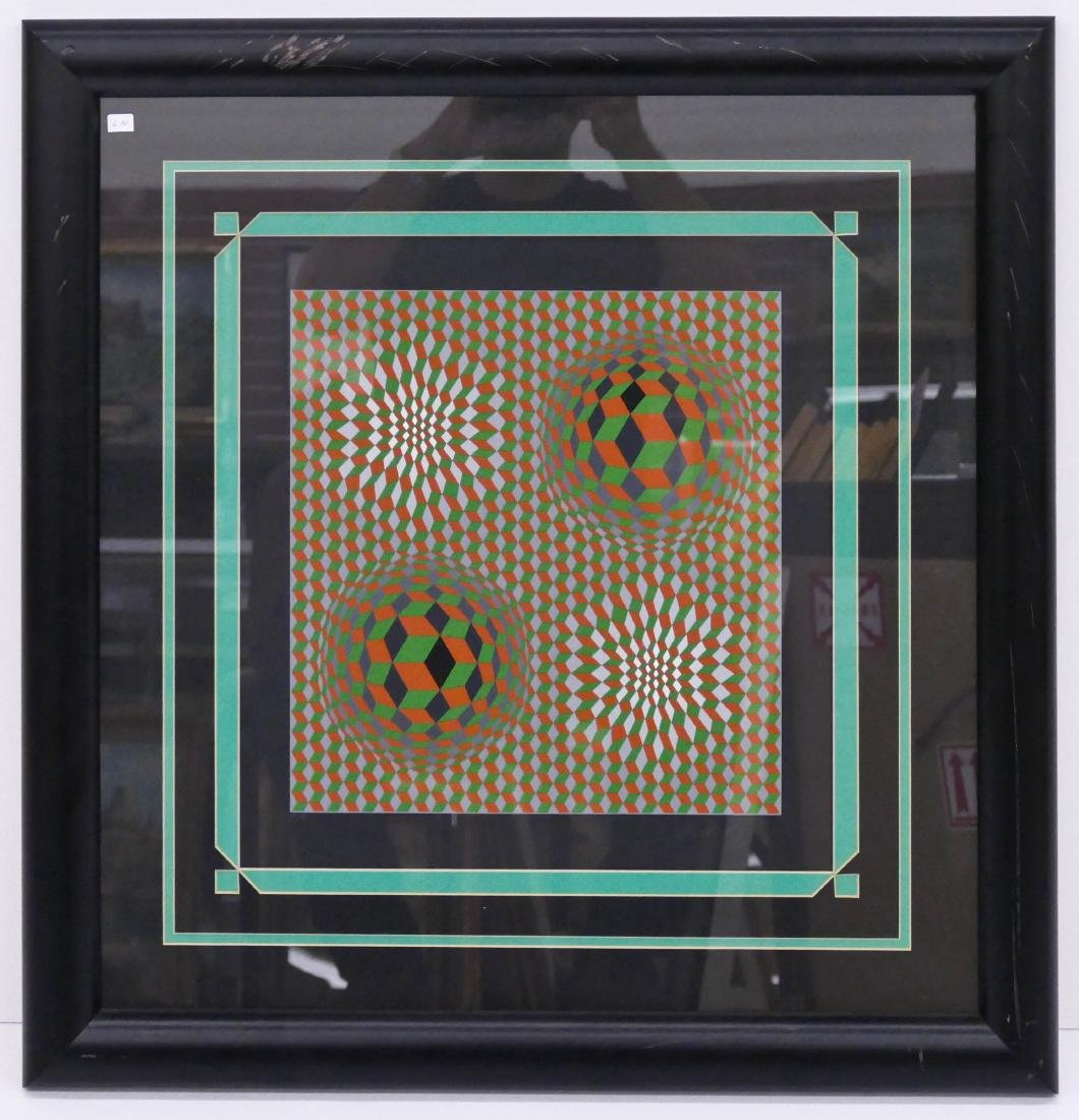 Victor Vasarely Early Op Art Serigraph 15''x14'' - 2