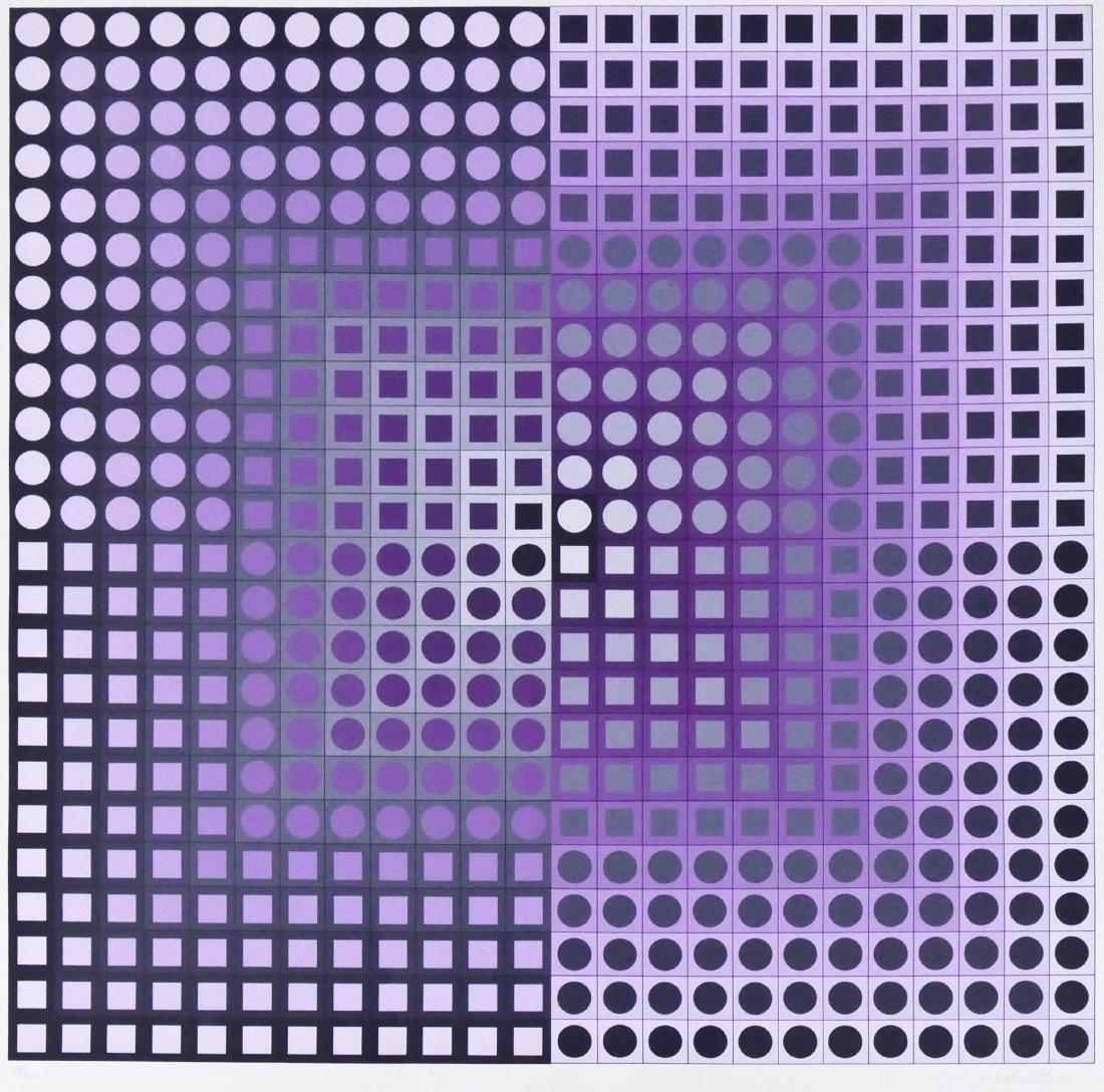 Victor Vasarely ''Zett'' 1989 Diptych Serigraph