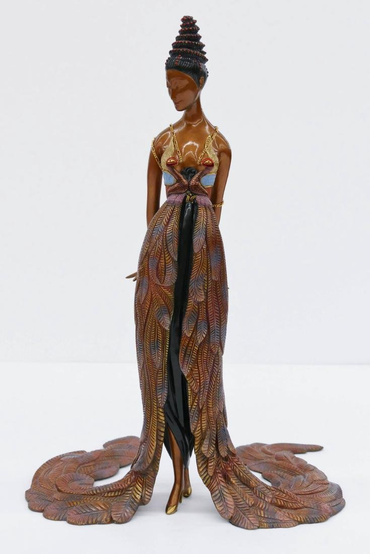 Erte (1892-1990 Russian) ''Feather Gown'' 1990