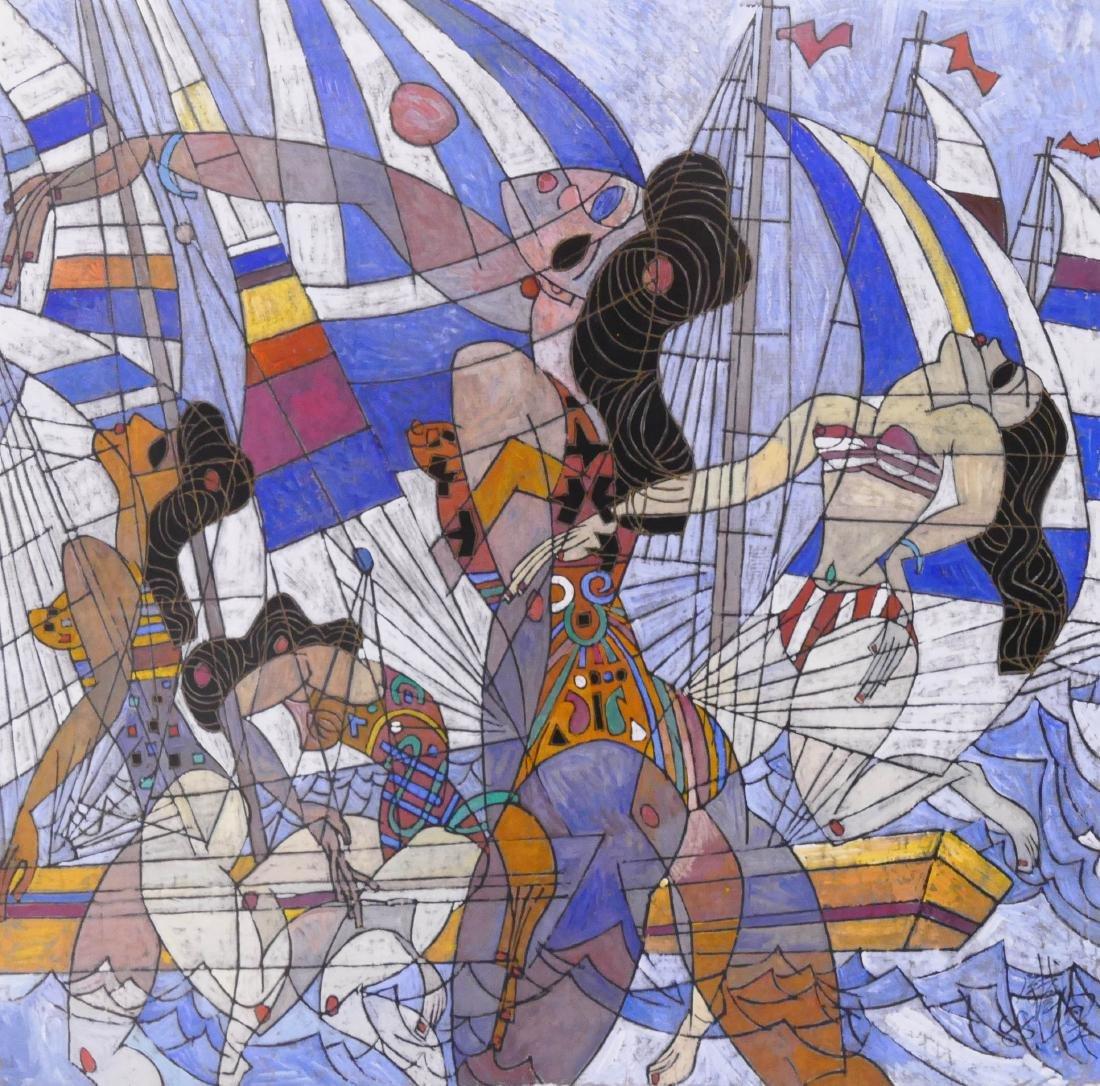 Tiefeng Jiang (b.1938 Chinese) Women with Sailboats