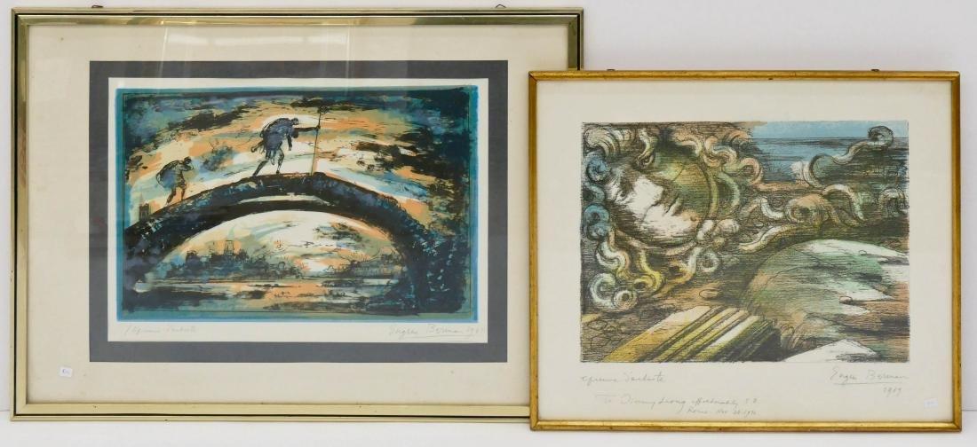 2pc Eugene Berman (1899-1972 Italian) Surrealist Artist