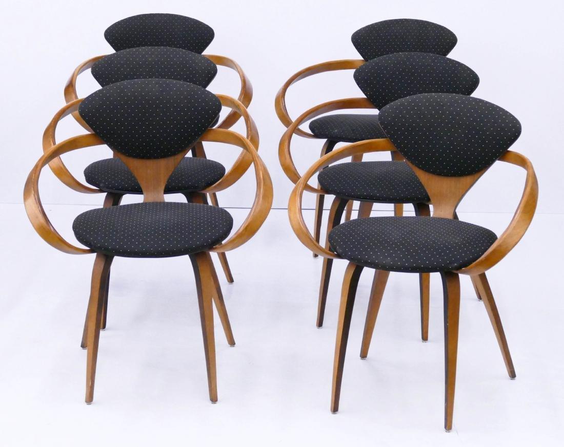 set 6 norman cherner for plycraft pretzel chairs