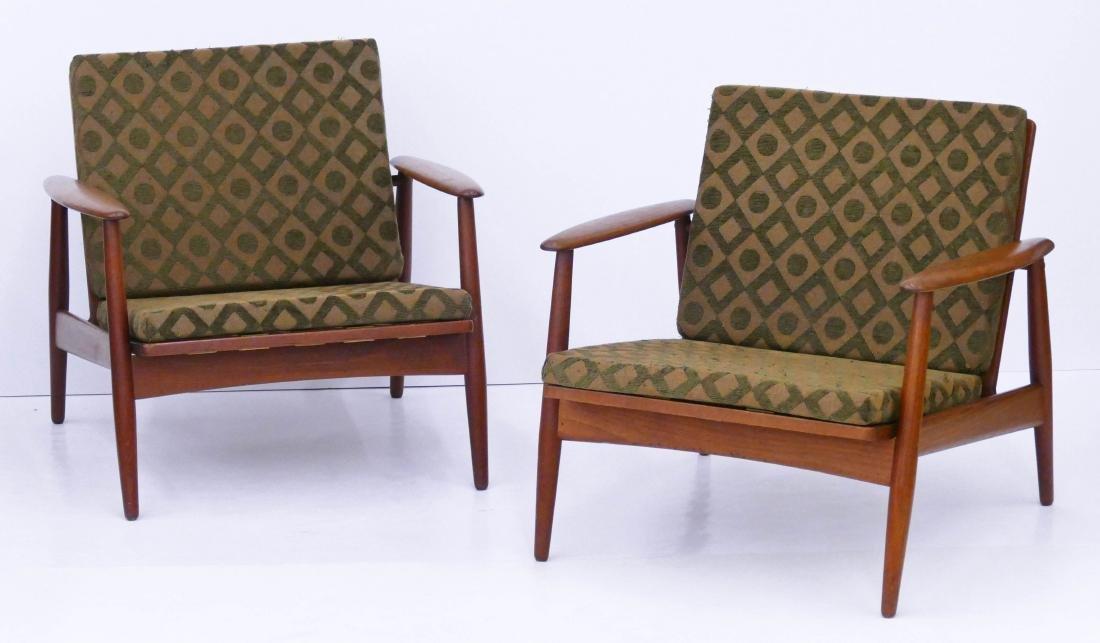 Pair Danish Modern Teak Lounge Chairs