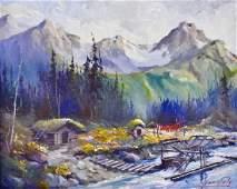 Harvey Goodale (1900-1980 Alaska) Cabin Landscape with