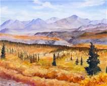 Harvey Goodale (1900-1980 Alaska) Autumn Landscape Oil