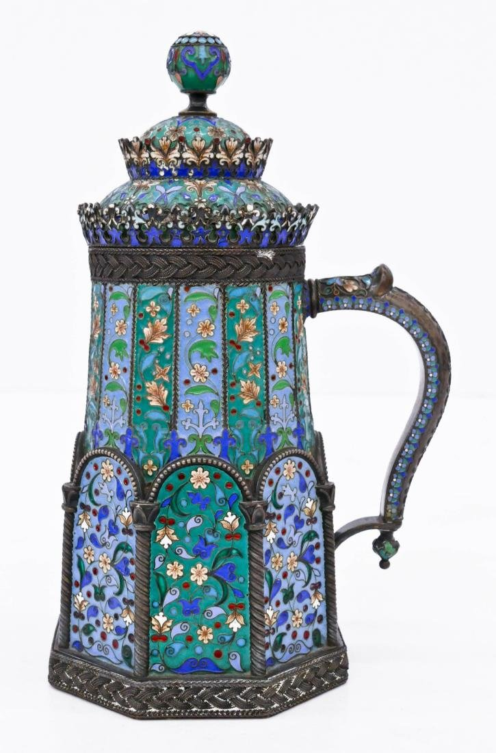 Imperial Russian Enameled Silver Tankard by Pavel