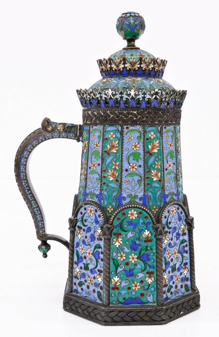 Imperial Russian Enameled Silver Tankard by Pavel - 3