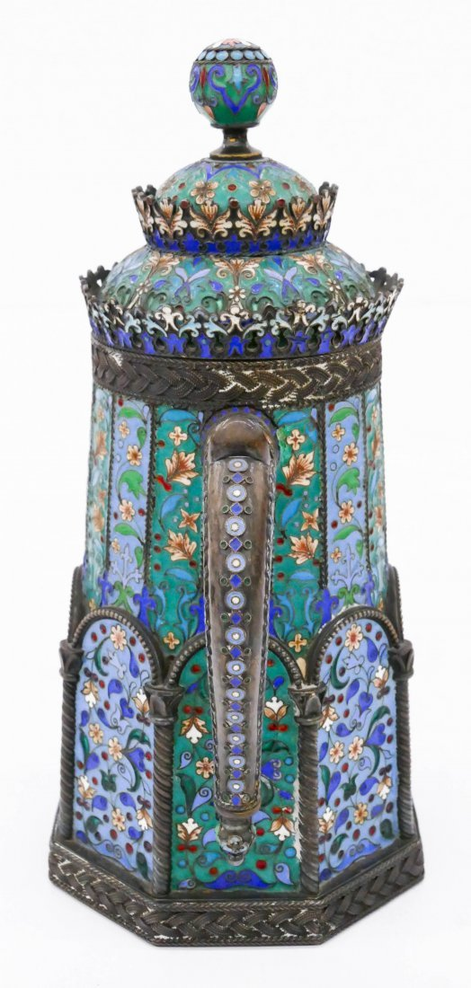 Imperial Russian Enameled Silver Tankard by Pavel - 4