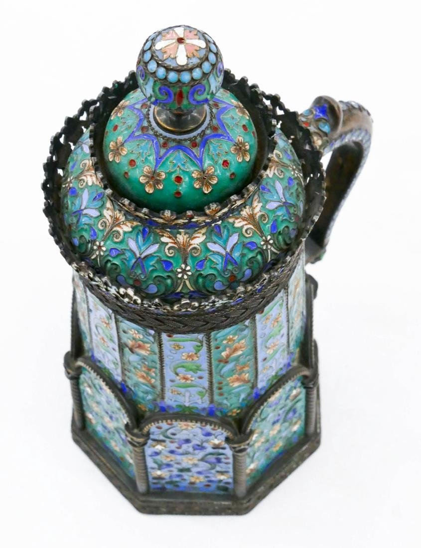 Imperial Russian Enameled Silver Tankard by Pavel - 5