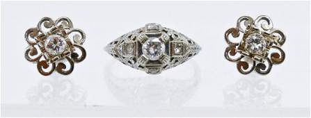 Lady's Art Deco Diamond Ring & Earring Set. Includes an