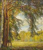 Emil Glockner b1868 German Landscape with Trees Oil