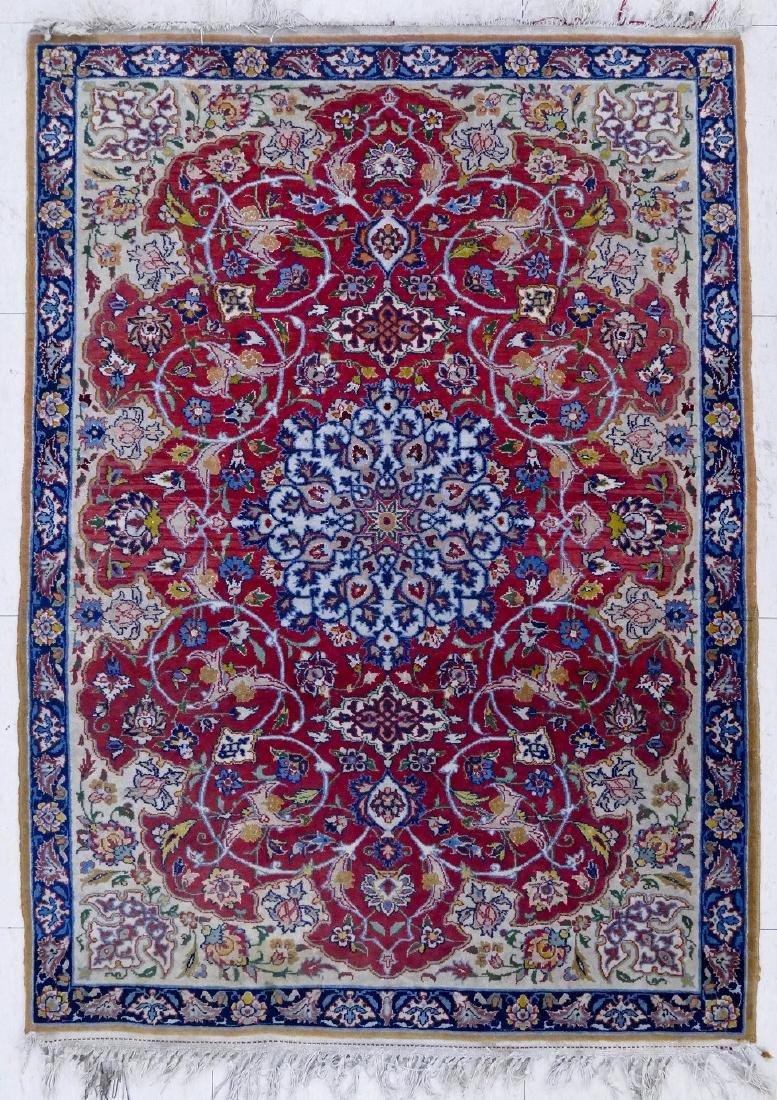 Fine Isfahan Silk Inlaid Oriental Rug Mat 3'5''x2'4''.