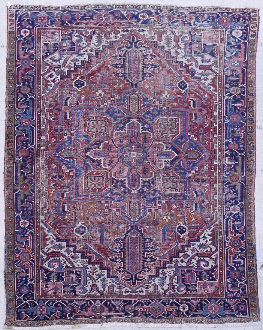 Semi Antique Persian Heriz Oriental Rug. Light colored