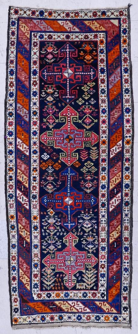 Semi Antique Caucasian Oriental Runner Rug 3'x8'. Four