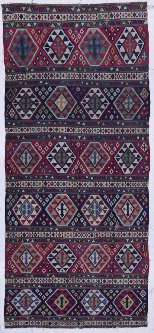 Antique Shirvan Kilim Oriental Rug 4'6''x10'. Geometric