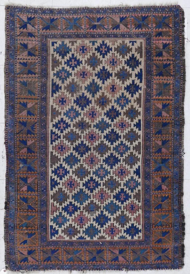 Semi Antique Baluch Oriental Rug 3'x5'10''. Geometric
