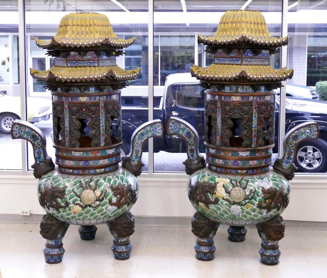 Pair of Monumental Chinese Cloisonne Pagoda Censers