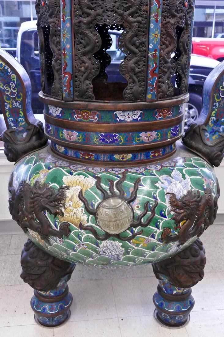 Pair of Monumental Chinese Cloisonne Pagoda Censers - 2