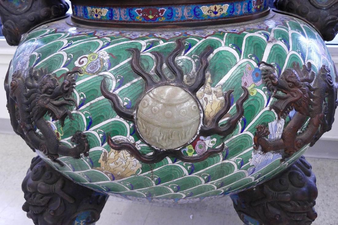 Pair of Monumental Chinese Cloisonne Pagoda Censers - 3